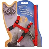 Mumoo Bear Adjustable Nylon Pet Cat Puppy Harness with Lead Leash Strap Belt Safety Rope - Red