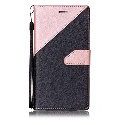 Per iPhone 7 Plus Custodia in Pelle Morbida,SKYXD Flip Cover Borsa Portafoglio Wallet Libro Fronte Retro Full Body Protezione Completa 360 Gradi Coperture Protettiva di Elegante Colorata Similpelle Ca Nero Rosa