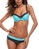 KISSLACE Damen Bikini Set Push Up Gepolstert Cups Mit Bügel Bademode Badeanzug Blau XL=EU40