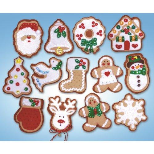 Design Works - Adornos navideños (fieltro), diseño de galleta de jengibre, multicolor