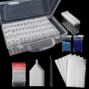 64 Fächer Diamant Malerei Aufbewahrungsbox 5D Diamant Stickerei Sortierbox mit Trichterplatte, 200 Stück Aufkleber und Pinzetten