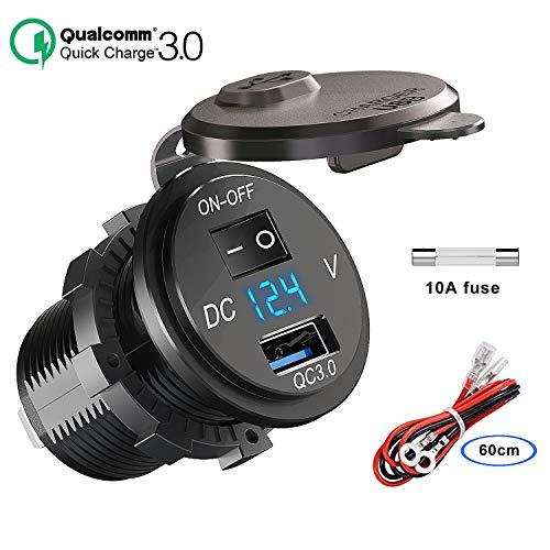 QC 3.0 USB Steckdose KFZ 12V/24V, Quick Charge 3.0 Auto Ladegerät Einbau Buchse Wasserdicht Zigarettenanzünder Adapter mit Schalter LED Voltmeter Spannungsanzeige für Motorrad Boot LKW Wohnwagen ATV - Usb Auto-ladegerät 3