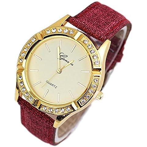 WINWINTOM Las mujeres de cuero del diamante de Ginebra de cuarzo analógico reloj de pulsera