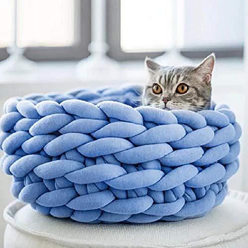 LIGHTOP Katzenbett Pet Bett Katzenhaus Handbuch Grobe Wolle Vorbereitung Kissen Hundebett von Katzenstreu Bequem und Warm Durchmesser