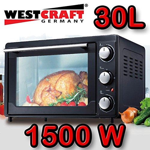WESTCRAFT 1500W Mini-Backofen mit Timer 30 Liter Miniofen Ofen Pizzaofen Minibackofen