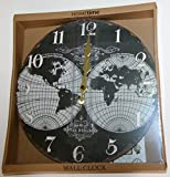 Hometime Wall Clock - Map of the World Vintage Style Design (30cm) Black