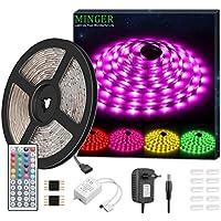 5m Tira LED de Minger, Tira LEDs Exterior Perfecto Impermeable IP65 RGB 5050 SMD 150 LEDs, Control Remoto de 44 Botones con Fuente de Alimentación (12V 2A Enchufe Europeo), Excelente para TV, Cocina, Jardín, Decoración etc.