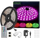Minger Kit de Ruban à LED Etanche 5M 5050 RGB SMD Multicolore Bande LED Lumineuse avec Télécommande à Infrarouge 44 Touches et Alimentation 3A 12V