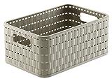 Rotho 1165507422 Cesta Country Effetto Rattan in plastica (PP), Contenitore di Design, capienza ca. 4 l, Formato A6+, ca. 23,7 x 15,8 x 10,8 cm, Cappuccino