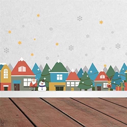GUDOJK Weihnachten Winter Schnee Stadt Haus Wandaufkleber Abziehbilder Fenster Party Dekoration Jahr Wohnkultur Poster