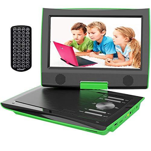 ieGeek Lettore DVD Auto Portatile Bambini con Schermo HD 9.5', Regional Free, Batteria Ricaricabile, Doppio Jack per Cuffie, Porta AV / SD / USB (Verde)