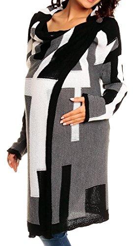 Happy Mama Femme Maternité Gilet de grossesse Pull Veste Longue Cascade. 277p Noir Couleur Bloquer1