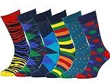 Easton Marlowe 6 PR Calcetines Estampados Hombre - 6pk #11, mixed - bright colors, 43-46 EU shoe size