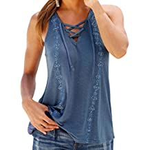 HARRYSTORE Mujeres Verano Impresión V-Cuello sin mangas Correas Chaleco Camiseta Tank Tops Blusa Camiseta