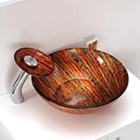 AIURLIFE Colorato tondo in vetro temperato nave lavello con rubinetto cascata, Pop - Up di scarico e anello di montaggio