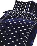 Leonado Vicenti 2 teilig Bettwäsche 135x200 cm in blau/weiß aus Microfaser modern Sterne Wendebettwäsche Set mit Reißverschluss