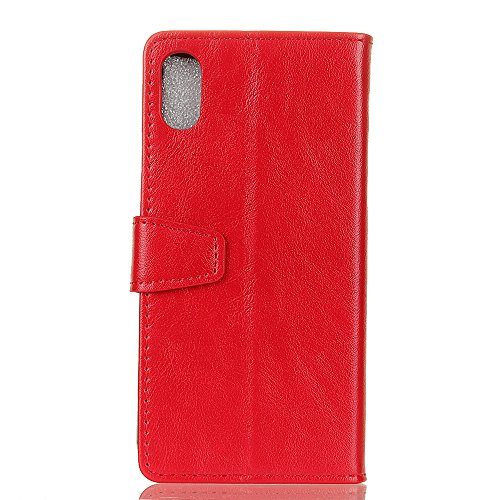 Cover Per iPhone X, Sunrive Custodia con supporto di stand e in pelle artificiale per carte di credito Portafoglio Flip Chiusura Magnetica Protettiva(crazy-cavallo bianco) crazy-cavallo rosso