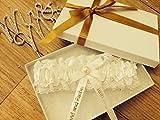 Personalised Wedding Garter Belt Hand Made Ivory White Bride Gift Boxed PG101GB