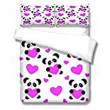 YLWMBB beddengoed - Dekbedovertrekset, Panda Love Polyester Stoffen dekbedovertrek, Onderhoudsvriendelijk, Microvezel Dekbedovertrekset met 2 kussenslopen