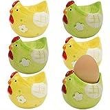 My-goodbuy24 Eierbecher Set aus Keramik '' Huhn '' Hochwertige verarbeitung - Handbemalt/jedes ein Unikat - grün/gelb - 7,5 x 6,8 x 6,8 cm (6)