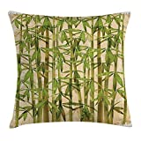 OQUYCZ Bamboo Throw Pillow Cushion Cover, Modern Illustration with Japanese Bamboo Reeds on a Vintage Background Artwork, Decorative Square Accent Pillow Case, 18 X 18 Inches, Green Cream