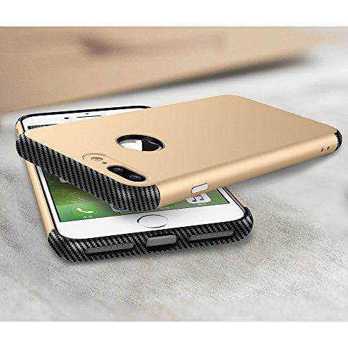 Skitic Dual Layer Housse de Protection Bumper pour iPhone 7 Plus, Ultra-mince TPU Coque + PC Dépoli Plasticque Fibre de Carbone Hybride Luxe Anti-choc Retour Etui Case Cover pour Apple iPhone 7 Plus - Or