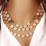 yinew, mehrschichtige Halskette Choker Perlen Disc Halskette Horn Münze für Frauen, Zinklegierung, goldfarben, Siehe Produktbeschreibung