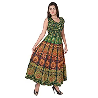 Monique Present Rajasthani Traditional Cotton Designer long Dress in Jaipuri Printed (Free Size UPTO 44XL)