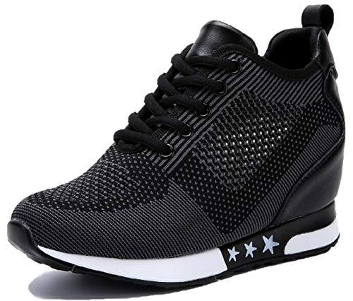 tqgold Donna Scarpe da Ginnastica Sportive Fitness Basse Sneakers Zeppa Interna 8CM Nero Taglia 38