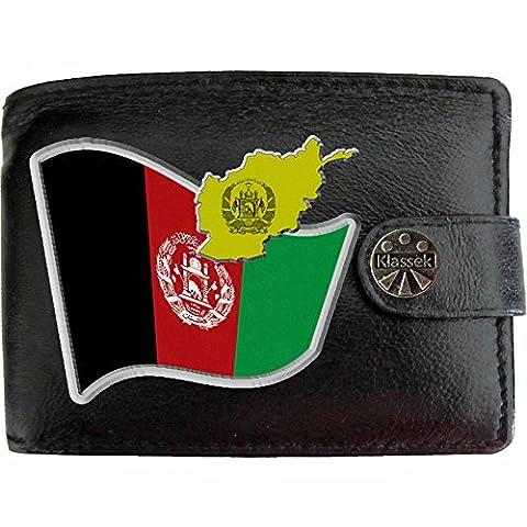 AFGHANISTAN Flag Mans Klassek Wallet AFGANISTAN COA Real Black Leather AFGHAN Gift present with Metal Box