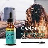 Huile de ricin organique, Huile de ricin pressée à froid pure, huile de cheveux hydratante anti-frisottis, Huile de traitement capillaire pour les cils, les cheveux, les sourcils et la peau