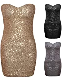 Womens Ladies Boobtube Bandeau Padded Zip Back Gold Sequin Mini Party Dress 8-14 (L (UK 12), Silver)