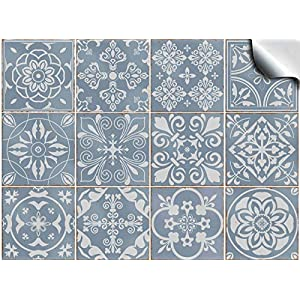 Tile Style Decals Fliesenaufkleber für Bad und Küche 24 stück (T1 - Blue)   Mosaik Wandfliese Aufkleber für 15x15cm Fliesen   Deko Fliesenfolie für Bad u. Küche