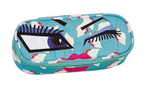 Bustina round invicta , lip pencil bag , face yap , azzurro , scomparto attrezzato per penne