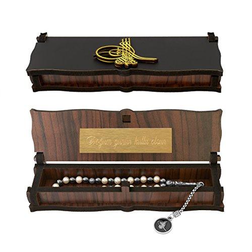 Gök-Türk Box Schatulle MIT GRAVUR aus Holz Handgemacht & Tesbih Gebetskette 'Tugra' Sultan Stempel 33 Perlen , ColorName:mit Gravur