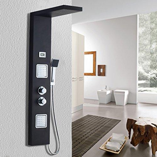 Auralum® Duschpaneel-Set mit Handbrause & Thermostat Edelstahl Wasserfall mit LCD Display Wassertemperatur Anzeigen 125*20cm modern schwarz