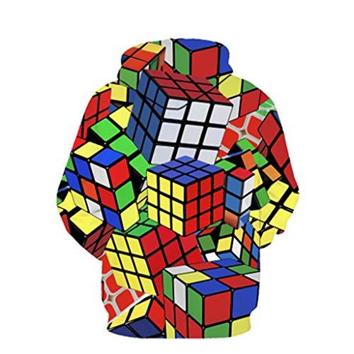 Herren Oberteil Jacke Kopf/Herbst und Winter Herrenmode Lässig Rundhals 3D Rubik\'s Würfelprint Mit Tasche Langarm Losen Sweatshirt Pullover/Weiß/S-XL