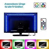 LED TV Hintergrundbeleuchtung 3m Kit Zuschneidbar Für Alle TV Größen, BSLED RGB 5050 led Strip mit Fernbedienung USB Anschluss TV Beleuchtung (Verbesserter Starker Kleber)