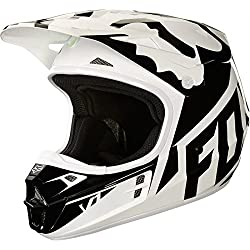 Fox Helmet V de 1 Race, White/Black/Green, Tamaño XL