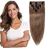 Extension a Clip Cheveux Naturel Rajout 100% Vrai Cheveux Humain Cheveux 8 Bandes Epaisseur Fine (#6 NOISETTE, 30cm-55g)