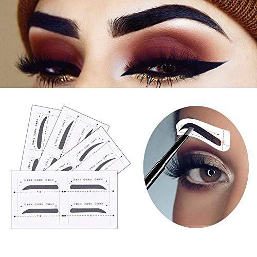 FIVE BEE Premium 12 Stück Augenbrauen Stencil wiederverwendbar Shaper mit 1 Stück Augenbrauen Rasierer | Augenbrauen Zeichen Führer Karte | Brow Shaping Template | DIY Eye Make-up-Kits Tool -
