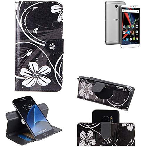 K-S-Trade Schutzhülle für Archos Diamond 2 Note Hülle 360° Wallet Case Schutz Hülle ''Flowers'' Smartphone Flip Cover Flipstyle Tasche Handyhülle schwarz-weiß 1x