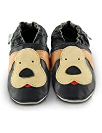 Snuggle Feet - Chaussons Bébé en Cuir Doux - Chiot Taquin