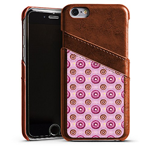 Apple iPhone 4 Housse Étui Silicone Coque Protection Donut party Rose vif Marron Étui en cuir marron
