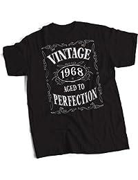 bybulldog® Vintage 1968 Aged To Perfection 50th Birthday Present Gift Mens Premium Black T-Shirt Small to 3XL