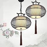 Ysddian Bambus Bambus Bambus Lampe zu einem asiatischen Restaurant Einzelzimmer Kopf Pendelleuchte japanische Laternen Gang Licht, das Nicht mit einem Glas, 46 X 25 cm Kommen
