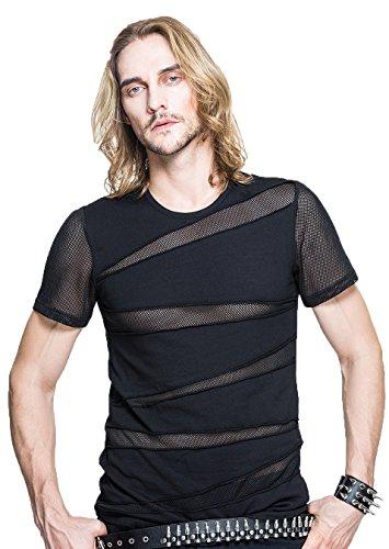Devil Fashion M?nner Steampunk Perspektive Stitching Kurzarm T-Shirt Gothic Sommer T-Shirt Rundes Kragen Top T-Shirt, 2XL