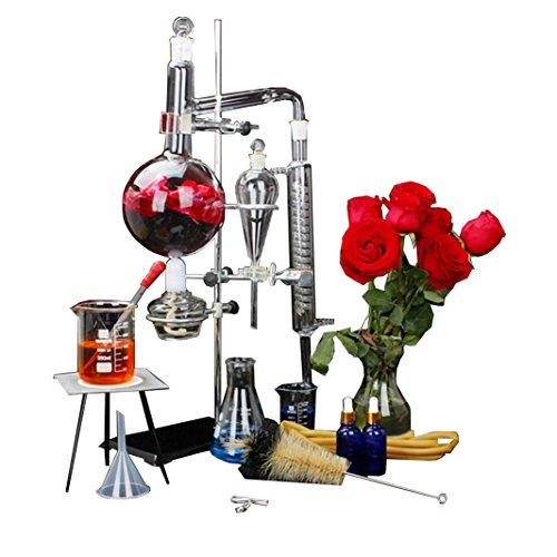New 1000ml Lab ätherisches Öl Destillation Apparat Wasser Brenner Luftreiniger Glaswaren Kits w/Kondensator Pipe Fläschchen Full Set