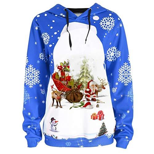 Bluelucon Weihnachts Frauen-Damen Anker Weg von der Schulter Maxi-Slouchy Sweatshirt Pullover Tops Blusen