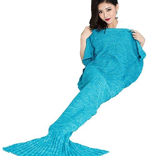 Strickhandgemachte Meerjungfrau-Endstück-Decke Sofa-Steppdecke-Wohnzimmer-Decke Meerjungfrau-Decke für Erwachsene und Teens 70 * 140cm (27.55inches X55.11 Zoll) Blau ( größe : 90*180cm ) (Teen Meerjungfrau Kostüme)